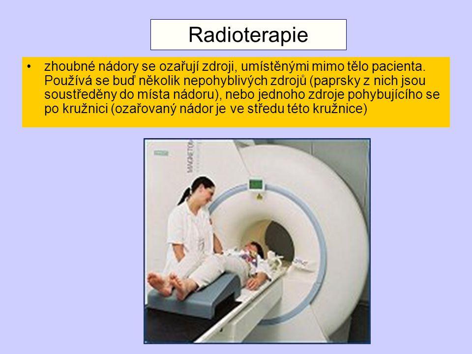 zhoubné nádory se ozařují zdroji, umístěnými mimo tělo pacienta.