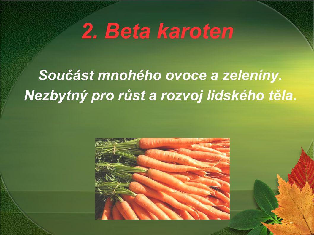 2. Beta karoten Součást mnohého ovoce a zeleniny. Nezbytný pro růst a rozvoj lidského těla.