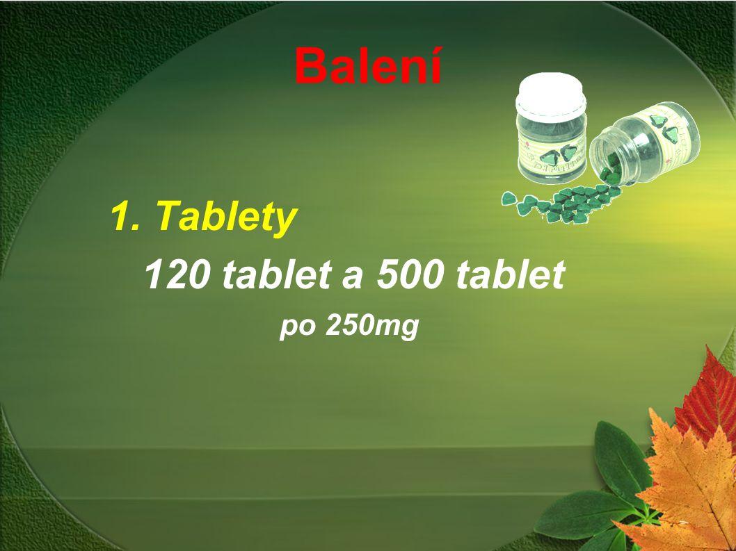 Balení 1. Tablety 120 tablet a 500 tablet po 250mg