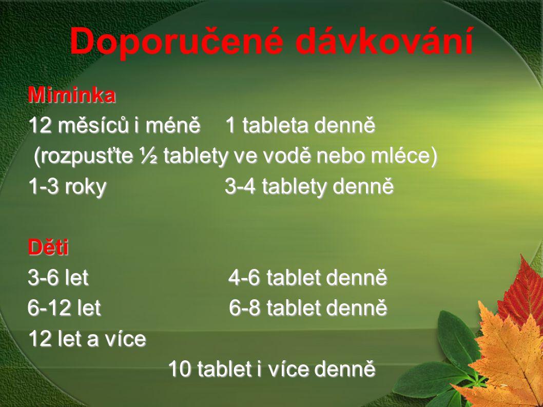 Doporučené dávkování Miminka 12 měsíců i méně1 tableta denně (rozpusťte ½ tablety ve vodě nebo mléce) (rozpusťte ½ tablety ve vodě nebo mléce) 1-3 rok