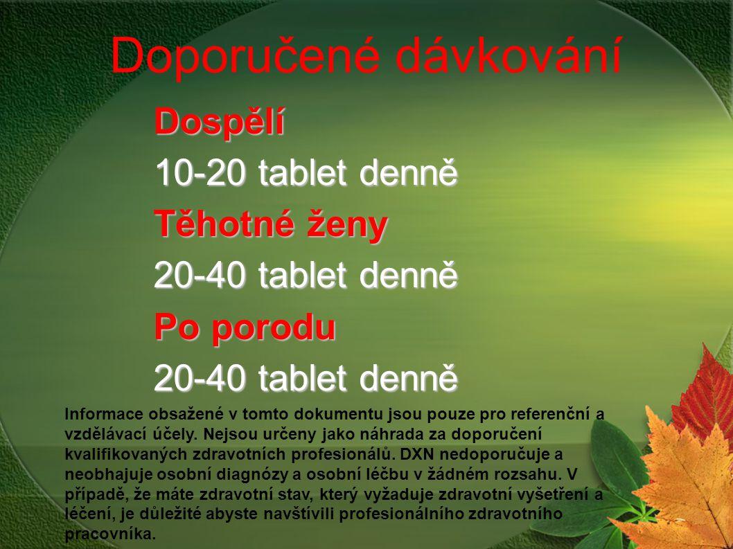 Doporučené dávkování Dospělí 10-20 tablet denně Těhotné ženy 20-40 tablet denně Po porodu 20-40 tablet denně Informace obsažené v tomto dokumentu jsou
