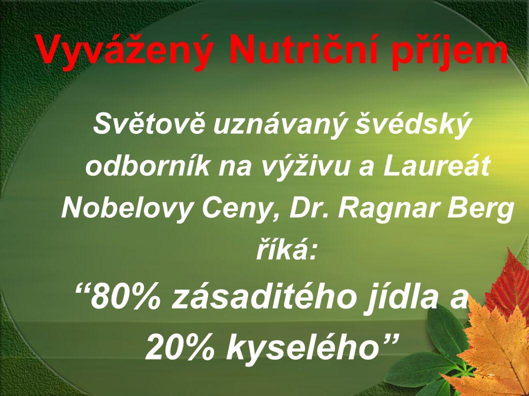 """Vyvážený Nutriční příjem Světově uznávaný švédský odborník na výživu a Laureát Nobelovy Ceny, Dr. Ragnar Berg říká: """"80% zásaditého jídla a 20% kyselé"""