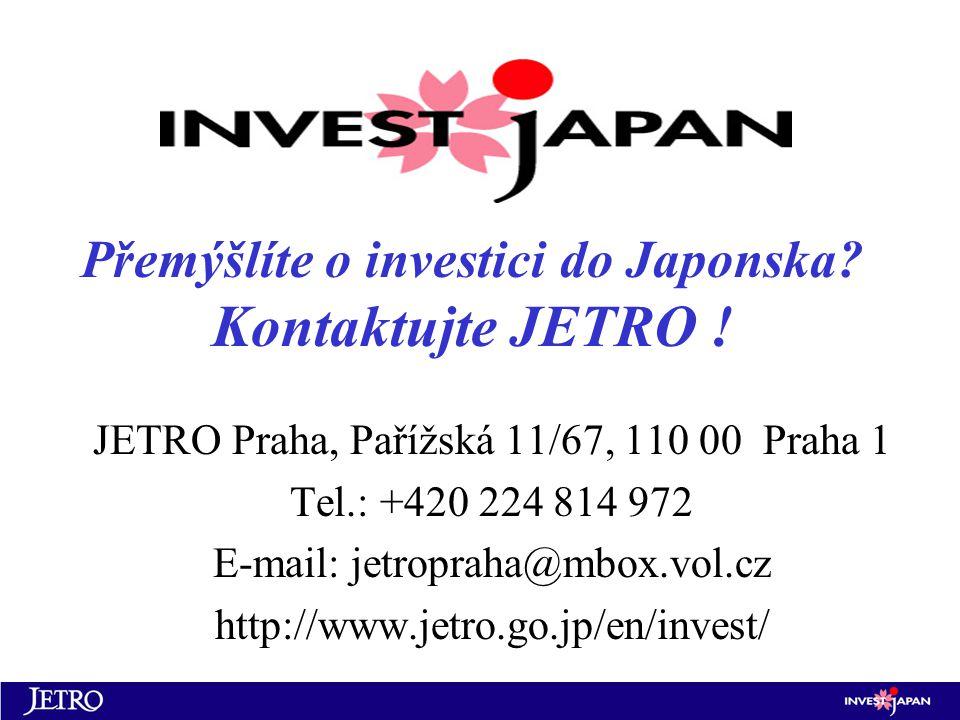 Přemýšlíte o investici do Japonska. Kontaktujte JETRO .