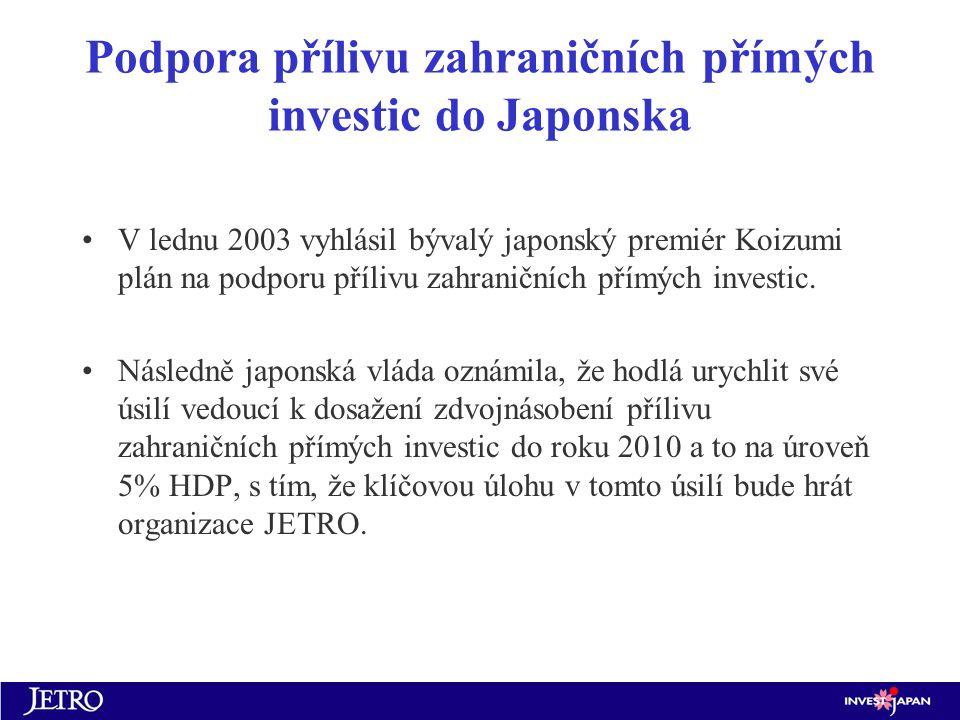 Podpora přílivu zahraničních přímých investic do Japonska V lednu 2003 vyhlásil bývalý japonský premiér Koizumi plán na podporu přílivu zahraničních přímých investic.