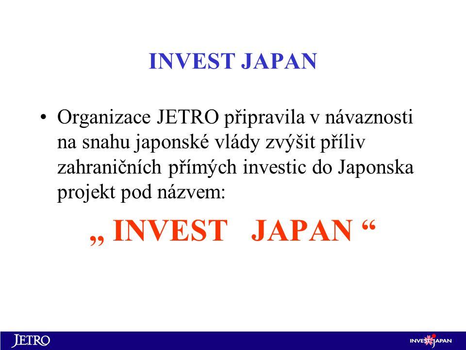 INVEST JAPAN Organizace JETRO připravila v návaznosti na snahu japonské vlády zvýšit příliv zahraničních přímých investic do Japonska projekt pod názvem:,, INVEST JAPAN