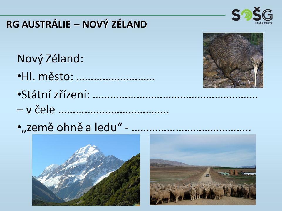 Nový Zéland: Hl. město: ……………………… Státní zřízení: ………………………………………………… – v čele ………………………………..