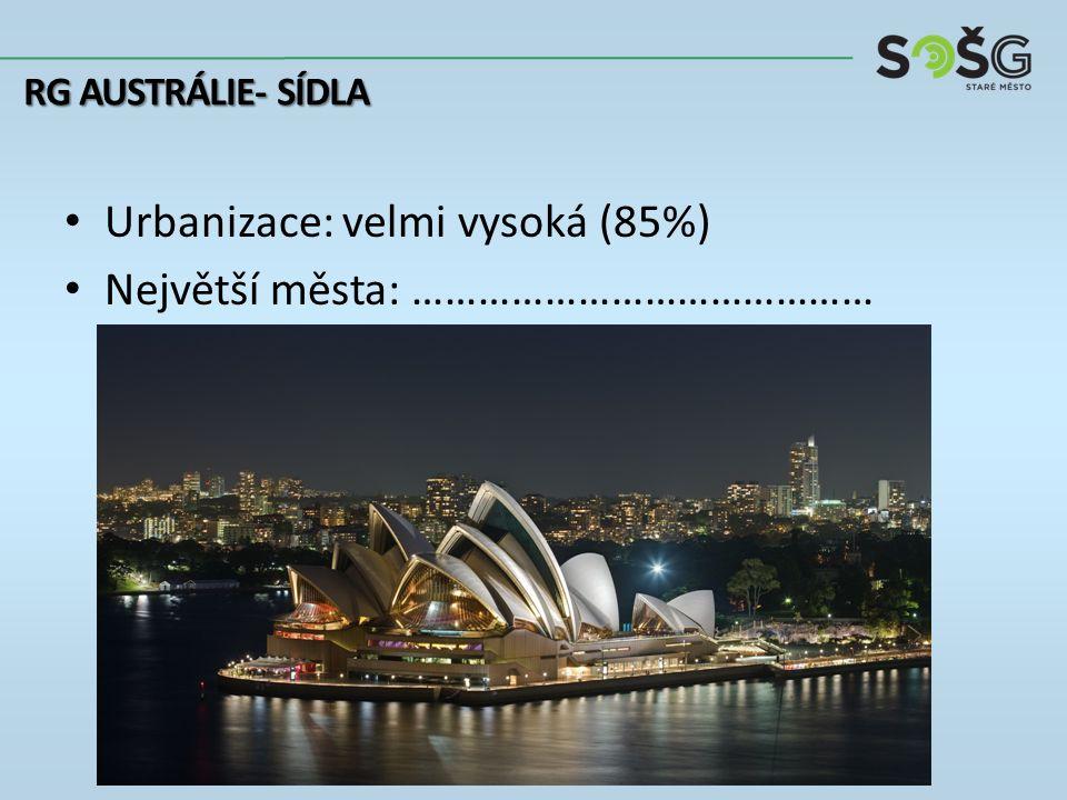 Urbanizace: velmi vysoká (85%) Největší města: …………………………………… RG AUSTRÁLIE- SÍDLA