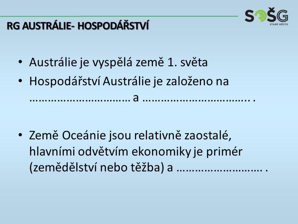 Nerostné suroviny: Austrálie: ……………………………………………… Nová Kaledonie: ………… Nauru: ……………… Průmysl: Austrálie: hutnictví, strojírenství a potravinářství RG AUSTRÁLIE- HOSPODÁŘSTVÍ