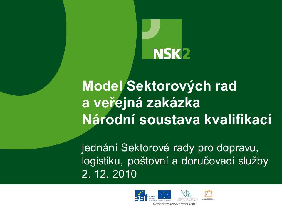 Model Sektorových rad a veřejná zakázka Národní soustava kvalifikací jednání Sektorové rady pro dopravu, logistiku, poštovní a doručovací služby 2.