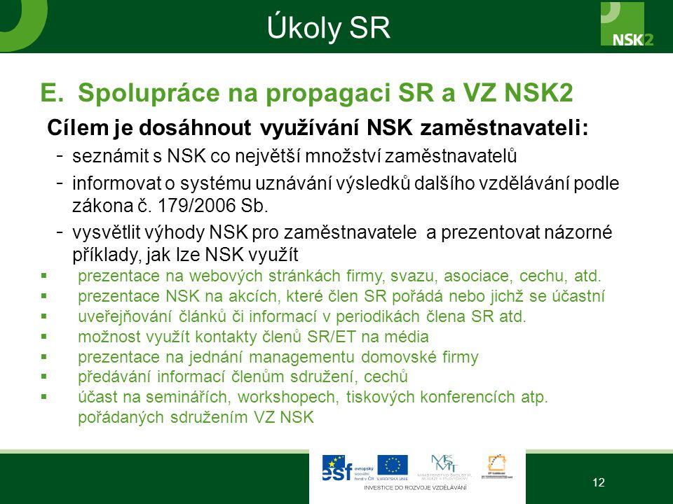 Úkoly SR E.Spolupráce na propagaci SR a VZ NSK2 Cílem je dosáhnout využívání NSK zaměstnavateli: - seznámit s NSK co největší množství zaměstnavatelů - informovat o systému uznávání výsledků dalšího vzdělávání podle zákona č.