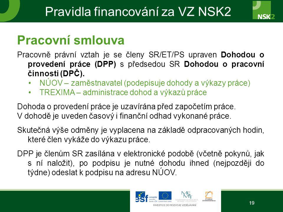 Pravidla financování za VZ NSK2 Pracovní smlouva Pracovně právní vztah je se členy SR/ET/PS upraven Dohodou o provedení práce (DPP) s předsedou SR Dohodou o pracovní činnosti (DPČ).