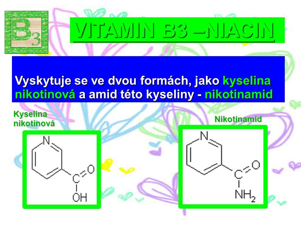 VITAMIN B3 –NIACIN Kyselina nikotinová Nikotinamid Vyskytuje se ve dvou formách, jako kyselina nikotinová a amid této kyseliny - nikotinamid