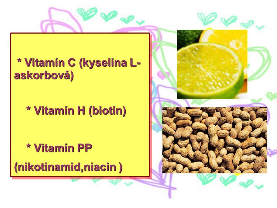 * Vitamín C (kyselina L- askorbová) * Vitamín C (kyselina L- askorbová) * Vitamín H (biotin) * Vitamín H (biotin) * Vitamín PP (nikotinamid,niacin ) *