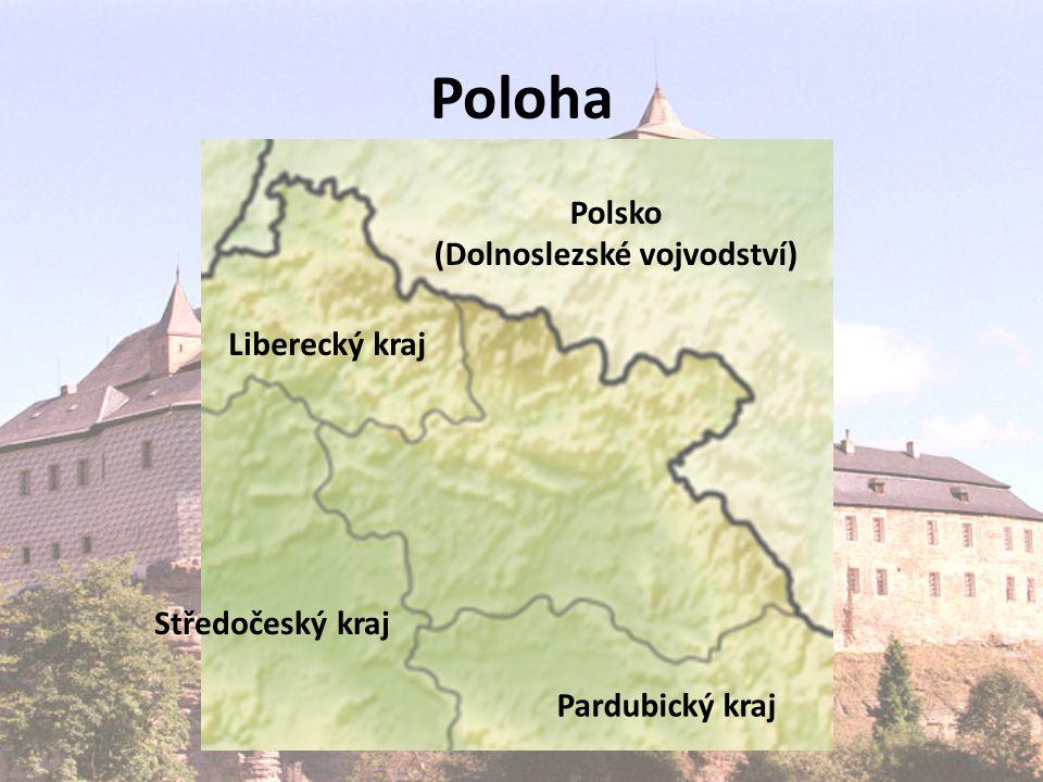 Poloha Polsko (Dolnoslezské vojvodství) Liberecký kraj Středočeský kraj Pardubický kraj