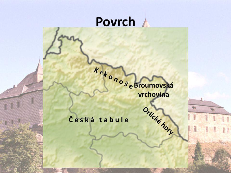 Povrch Č e s k á t a b u l e K r k o n o š e Orlické hory Broumovská vrchovina