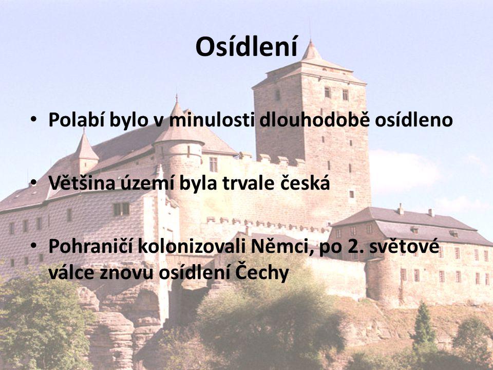 Osídlení Polabí bylo v minulosti dlouhodobě osídleno Většina území byla trvale česká Pohraničí kolonizovali Němci, po 2.