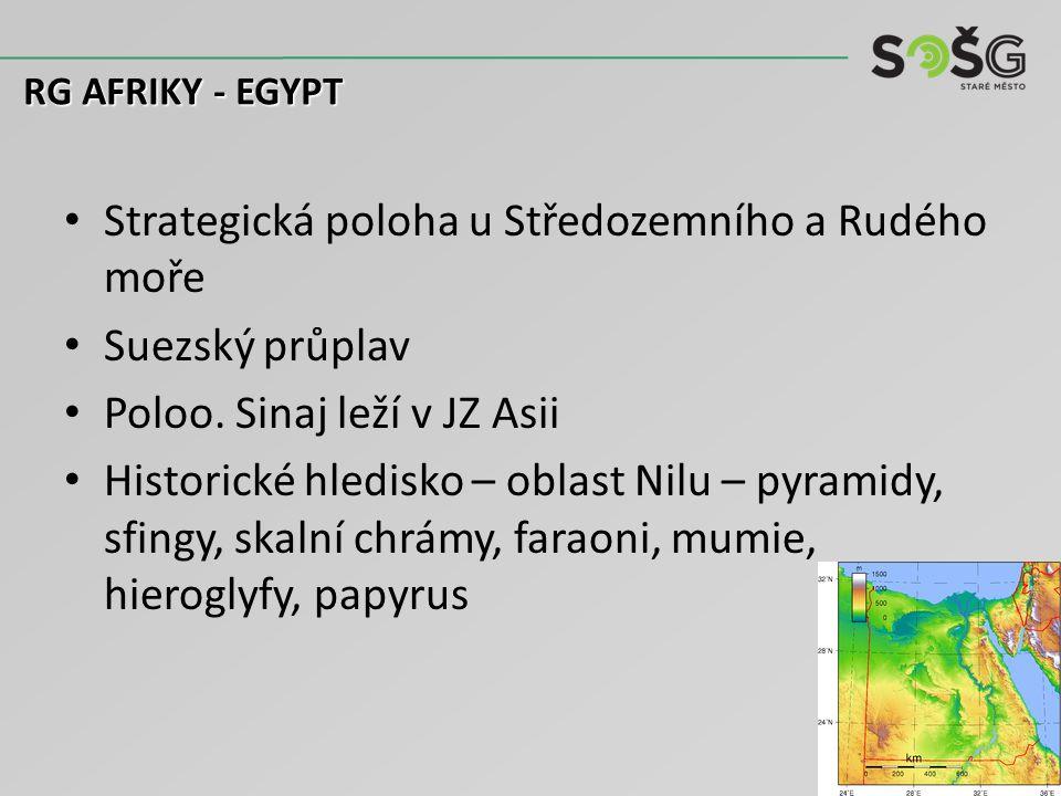 Strategická poloha u Středozemního a Rudého moře Suezský průplav Poloo. Sinaj leží v JZ Asii Historické hledisko – oblast Nilu – pyramidy, sfingy, ska