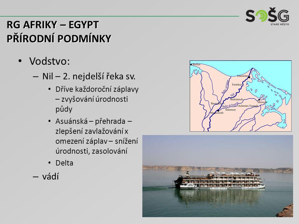 Vodstvo: – Nil – 2. nejdelší řeka sv. Dříve každoroční záplavy – zvyšování úrodnosti půdy Asuánská – přehrada – zlepšení zavlažování x omezení záplav