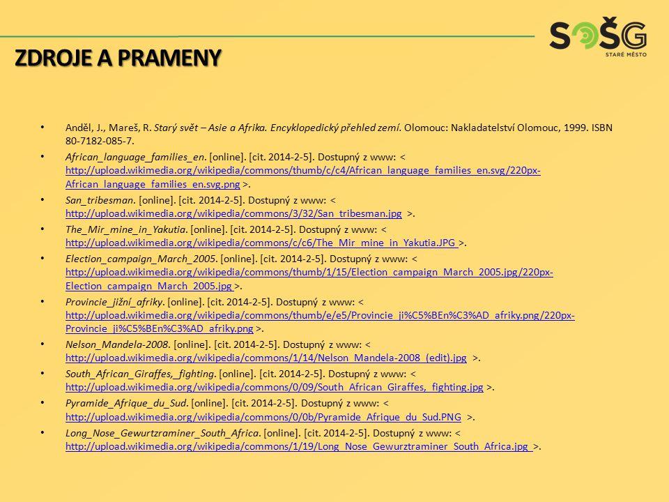 Anděl, J., Mareš, R. Starý svět – Asie a Afrika. Encyklopedický přehled zemí. Olomouc: Nakladatelství Olomouc, 1999. ISBN 80-7182-085-7. African_langu