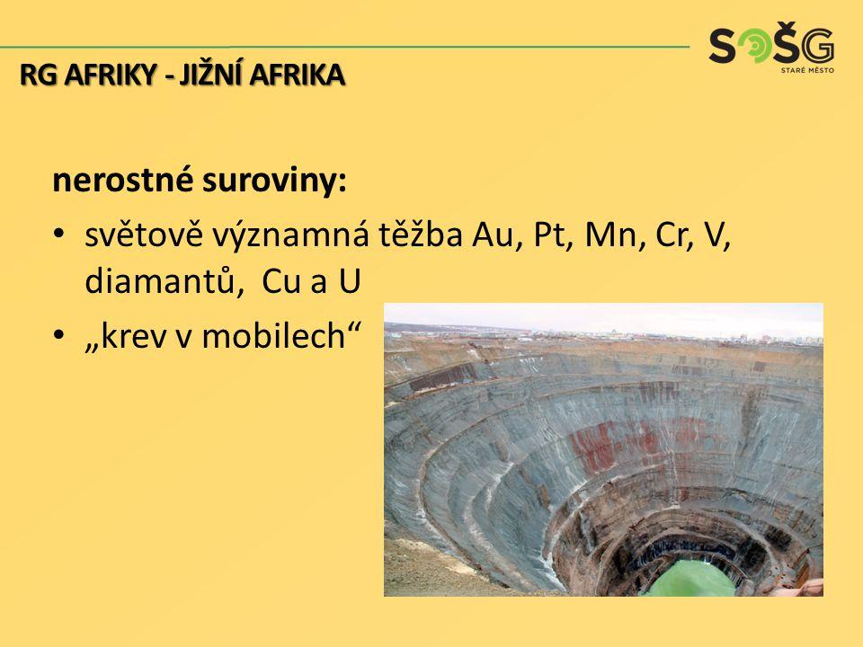 """nerostné suroviny: světově významná těžba Au, Pt, Mn, Cr, V, diamantů, Cu a U """"krev v mobilech"""" RG AFRIKY - JIŽNÍ AFRIKA"""