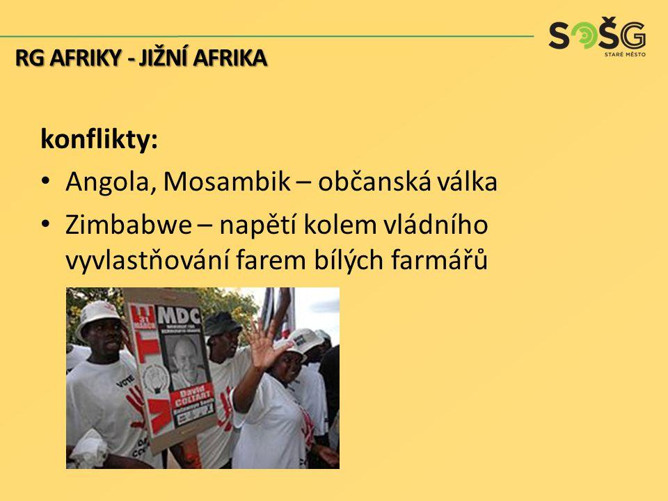 konflikty: Angola, Mosambik – občanská válka Zimbabwe – napětí kolem vládního vyvlastňování farem bílých farmářů RG AFRIKY - JIŽNÍ AFRIKA