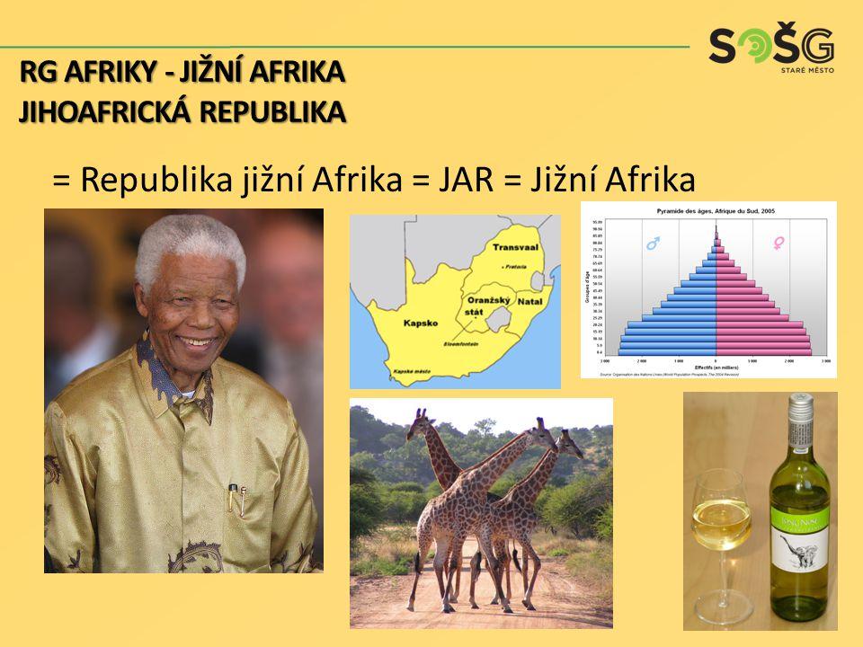hospodářství: vyspělý průmyslově zemědělský stát 40% podíl na celoafrické těžbě nerostů a průmyslové produkci 60% z výroby elektrické energie ovlivněno dlouhodobou mezinárodní izolací namířenou proti rasové politice RJA, dodnes důsledky a životní úroveň dodnes značně rozdílná mezi bělochy a příslušníky jiných ras a národů – důsledek kolonizace RG AFRIKY - JIŽNÍ AFRIKA JIHOAFRICKÁ REPUBLIKA