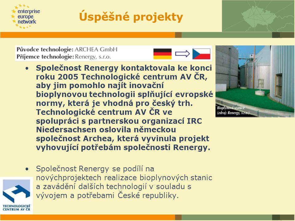 Společnost Renergy kontaktovala ke konci roku 2005 Technologické centrum AV ČR, aby jim pomohlo najít inovační bioplynovou technologii splňující evropské normy, která je vhodná pro český trh.