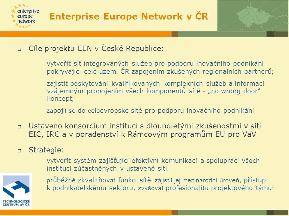 Metodika sítě EEN Aktivity sítě jsou rozděleny do 3 modulů: Modul A: Poradenství pro podnikatele služby pro zvýšení konkurenceschopnosti podniků: -Poskytování poradenství a informace o vnitřním trhu EU a možnostech zvyšování konkurenceschopnosti podniků, -Poradenství v oblasti evropské legislativy a národních předpisů, -Informace o podmínkách podnikání v rámci celé Evropy.