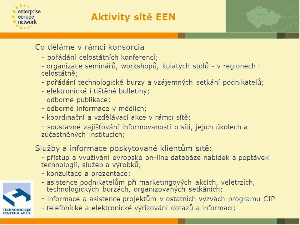 Aktivity sítě EEN Co děláme v rámci konsorcia - pořádání celostátních konferencí; - organizace seminářů, workshopů, kulatých stolů - v regionech i celostátně; - pořádání technologické burzy a vzájemných setkání podnikatelů; - elektronické i tištěné bulletiny; - odborné publikace; - odborné informace v médiích; - koordinační a vzdělávací akce v rámci sítě; - soustavné zajišťování informovanosti o síti, jejích úkolech a zúčastněných institucích; Služby a informace poskytované klientům sítě: - přístup a využívání evropské on-line databáze nabídek a poptávek technologií, služeb a výrobků; - konzultace a prezentace; - asistence podnikatelům při marketingových akcích, veletrzích, technologických burzách, organizovaných setkáních; - informace a asistence projektům v ostatních výzvách programu CIP - telefonické a elektronické vyřizování dotazů a informací;