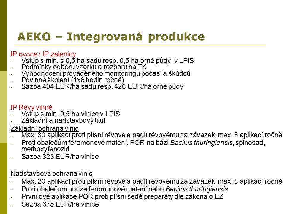 AEKO – Integrovaná produkce IP ovoce / IP zeleniny - Vstup s min. s 0,5 ha sadu resp. 0,5 ha orné půdy v LPIS - Podmínky odběru vzorků a rozborů na TK