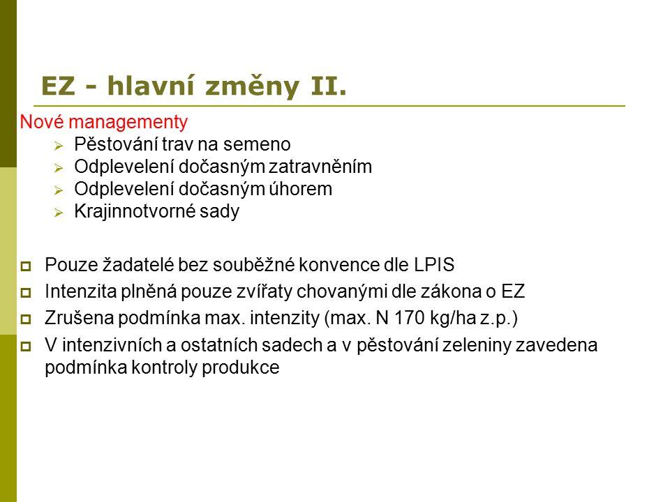 EZ - hlavní změny II. Nové managementy  Pěstování trav na semeno  Odplevelení dočasným zatravněním  Odplevelení dočasným úhorem  Krajinnotvorné sa