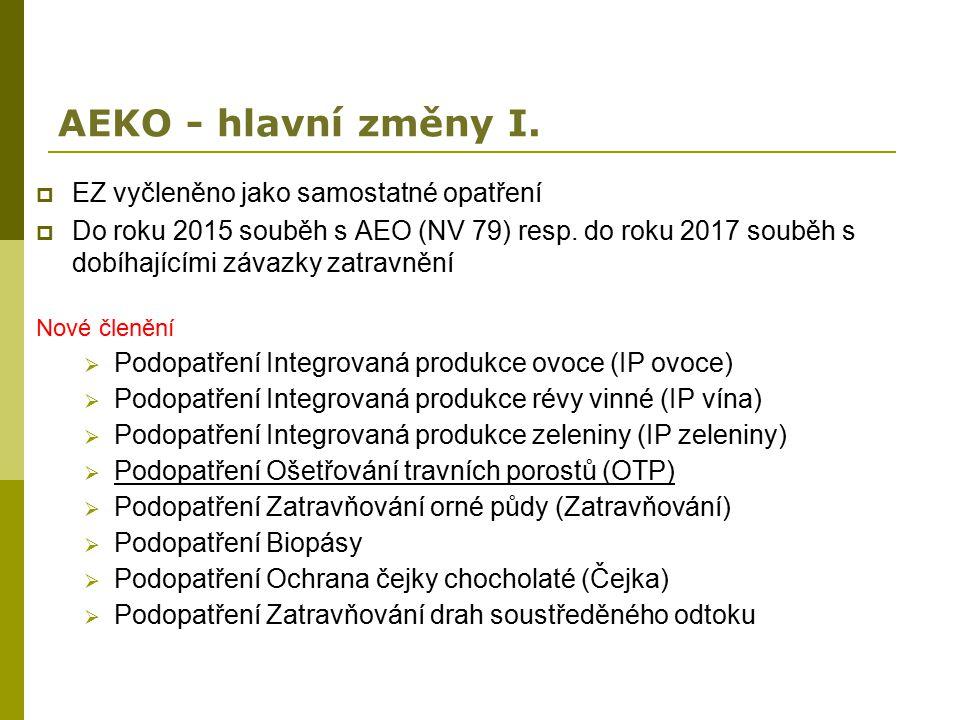 AEKO - hlavní změny I.  EZ vyčleněno jako samostatné opatření  Do roku 2015 souběh s AEO (NV 79) resp. do roku 2017 souběh s dobíhajícími závazky za