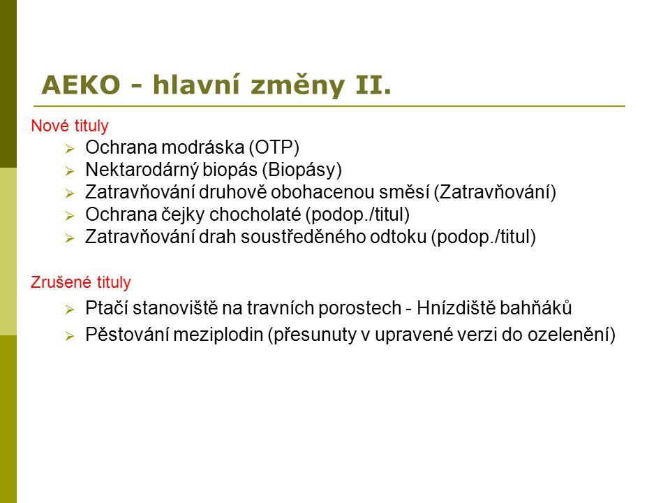 AEKO - hlavní změny II. Nové tituly  Ochrana modráska (OTP)  Nektarodárný biopás (Biopásy)  Zatravňování druhově obohacenou směsí (Zatravňování) 