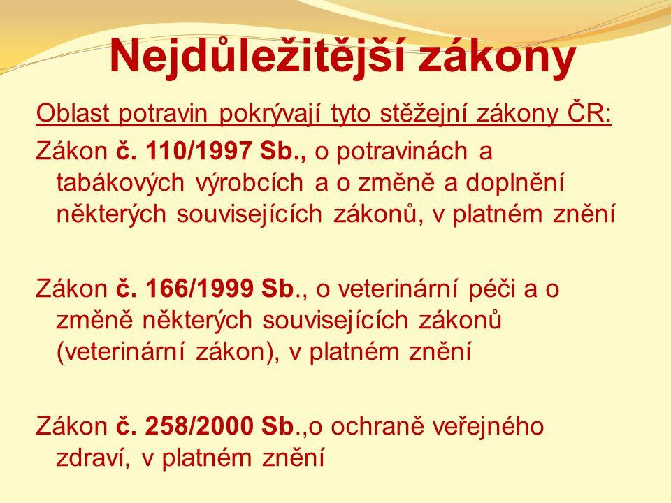 Nejdůležitější zákony Oblast potravin pokrývají tyto stěžejní zákony ČR: Zákon č. 110/1997 Sb., o potravinách a tabákových výrobcích a o změně a dopln