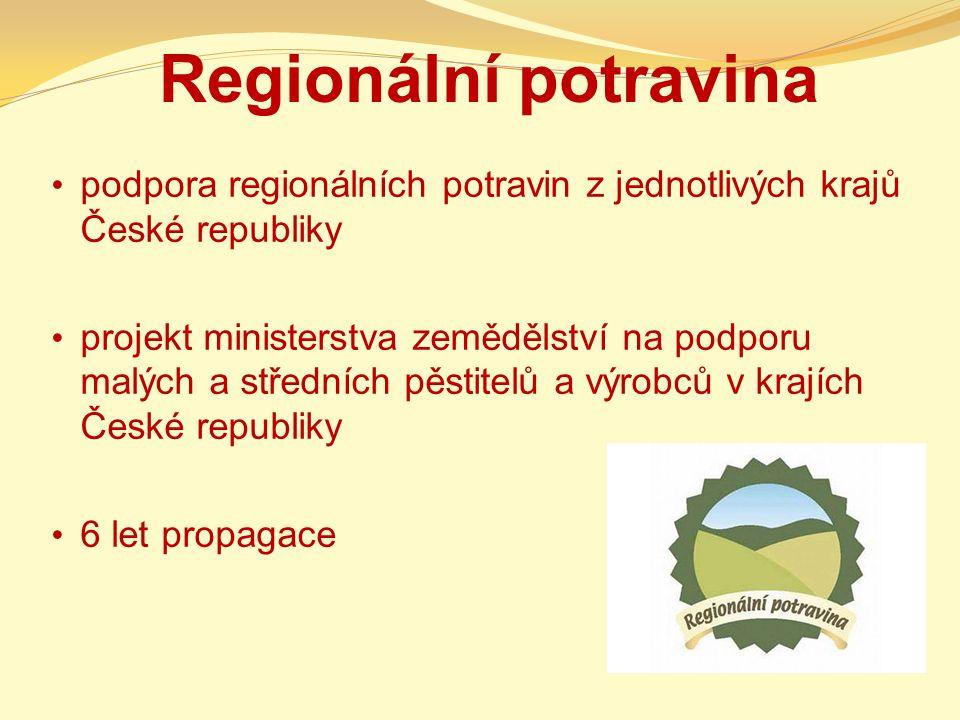 Regionální potravina podpora regionálních potravin z jednotlivých krajů České republiky projekt ministerstva zemědělství na podporu malých a středních