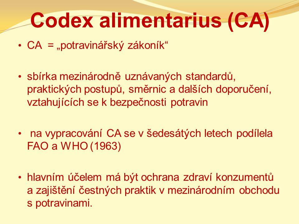 """Codex alimentarius (CA) CA = """"potravinářský zákoník"""" sbírka mezinárodně uznávaných standardů, praktických postupů, směrnic a dalších doporučení, vztah"""