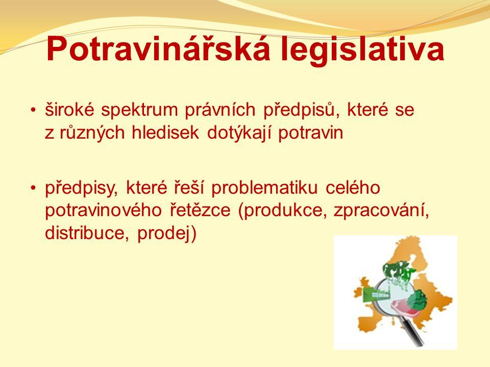Potravinářská legislativa široké spektrum právních předpisů, které se z různých hledisek dotýkají potravin předpisy, které řeší problematiku celého po