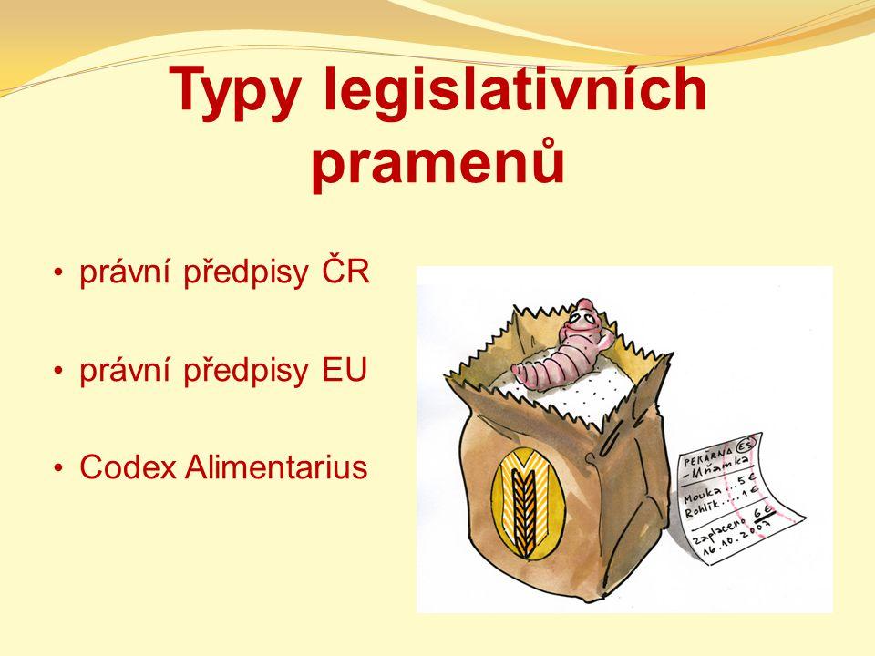 Typy legislativních pramenů právní předpisy ČR právní předpisy EU Codex Alimentarius