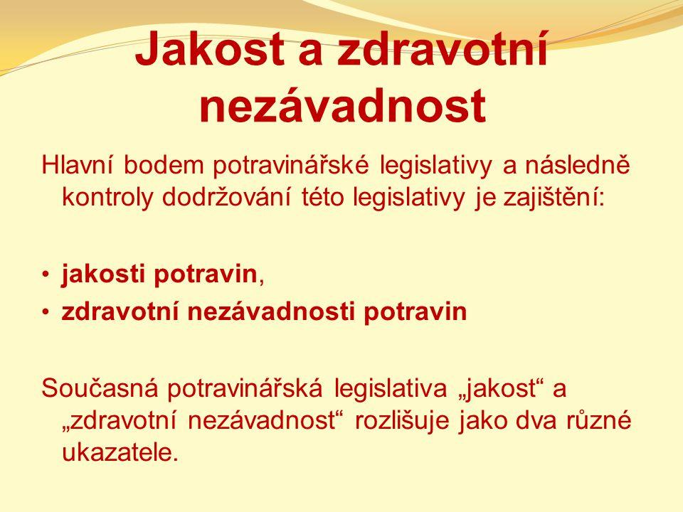 Jakost a zdravotní nezávadnost Hlavní bodem potravinářské legislativy a následně kontroly dodržování této legislativy je zajištění: jakosti potravin,