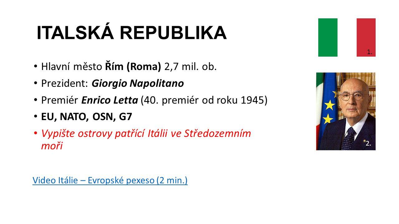 ITALSKÁ REPUBLIKA Hlavní město Řím (Roma) 2,7 mil. ob. Prezident: Giorgio Napolitano Premiér Enrico Letta (40. premiér od roku 1945) EU, NATO, OSN, G7