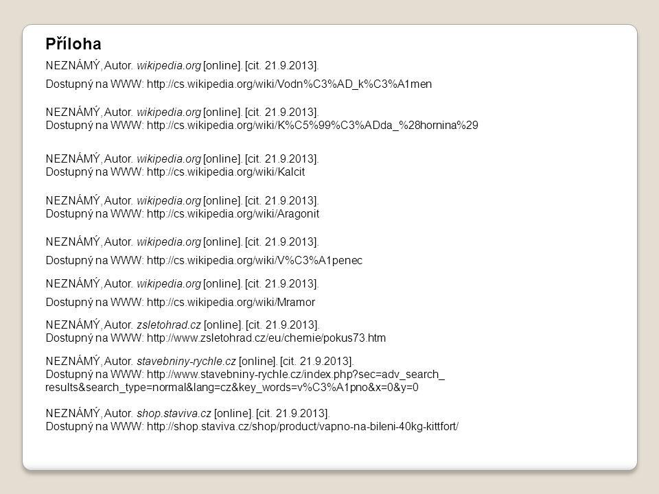 NEZNÁMÝ, Autor. wikipedia.org [online]. [cit. 21.9.2013]. Dostupný na WWW: http://cs.wikipedia.org/wiki/Vodn%C3%AD_k%C3%A1men NEZNÁMÝ, Autor. wikipedi