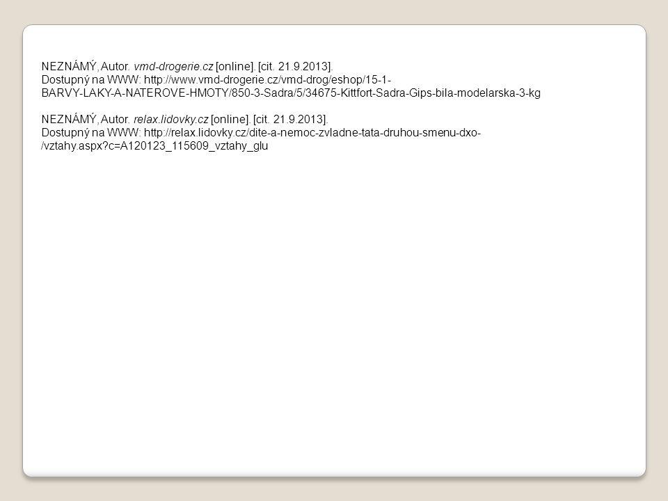 NEZNÁMÝ, Autor. vmd-drogerie.cz [online]. [cit. 21.9.2013]. Dostupný na WWW: http://www.vmd-drogerie.cz/vmd-drog/eshop/15-1- BARVY-LAKY-A-NATEROVE-HMO
