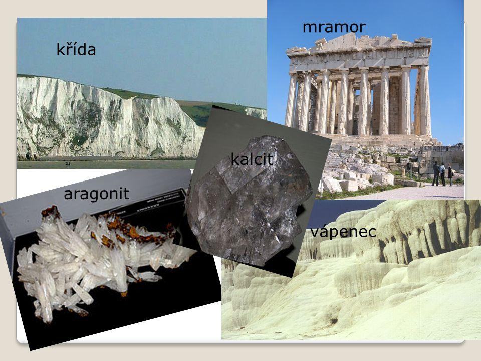 křída mramor aragonit vápenec kalcit