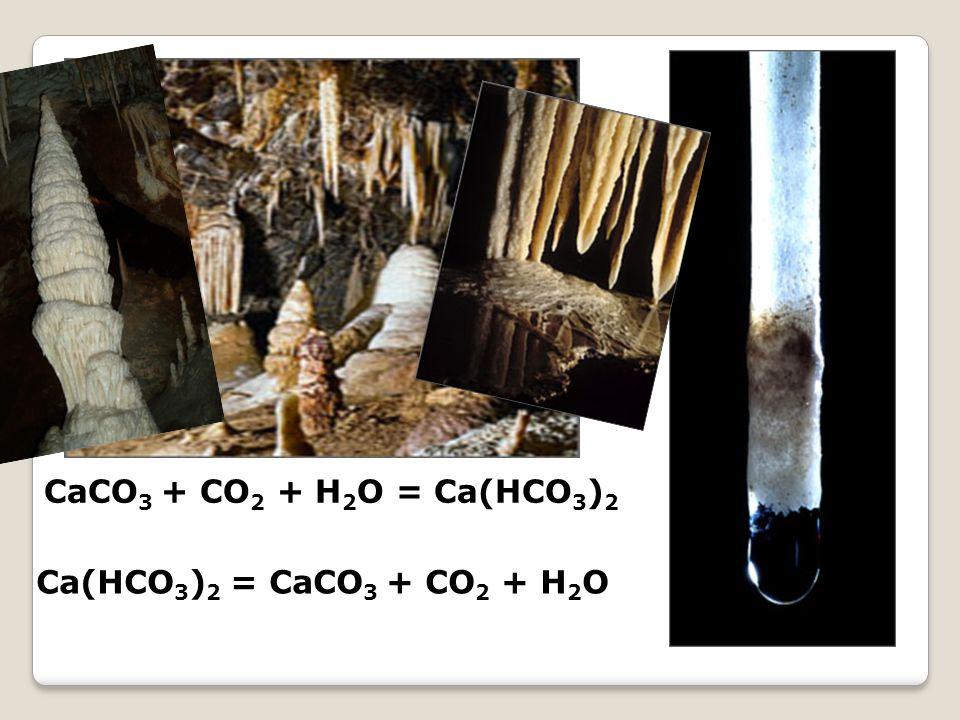 CaCO 3 + CO 2 + H 2 O = Ca(HCO 3 ) 2 Ca(HCO 3 ) 2 = CaCO 3 + CO 2 + H 2 O
