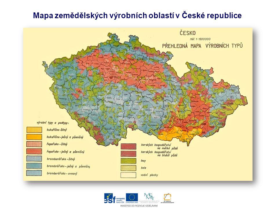 Mapa zemědělských výrobních oblastí v České republice