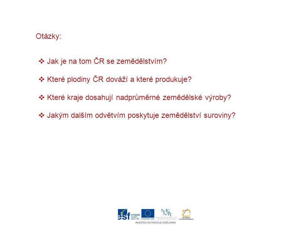 Otázky:  Jak je na tom ČR se zemědělstvím?  Které plodiny ČR dováží a které produkuje?  Které kraje dosahují nadprůměrné zemědělské výroby?  Jakým