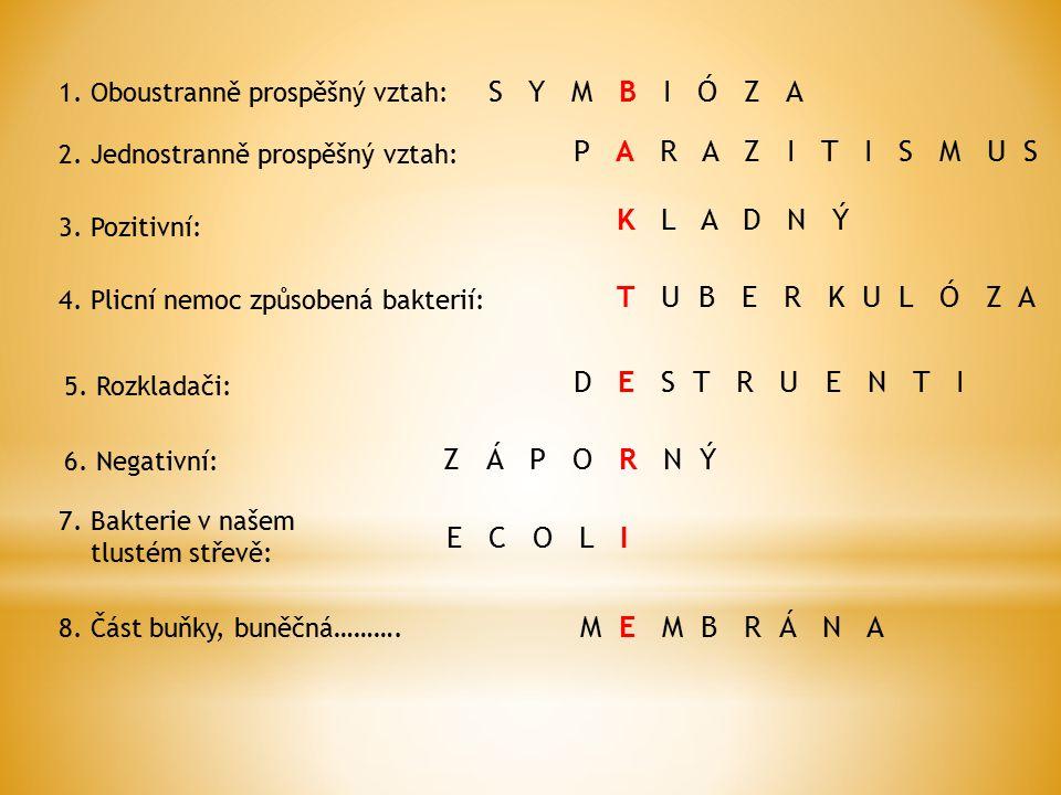1. Oboustranně prospěšný vztah: 2. Jednostranně prospěšný vztah: P A R A Z I T I S M U S 3. Pozitivní: K L A D N Ý 4. Plicní nemoc způsobená bakterií: