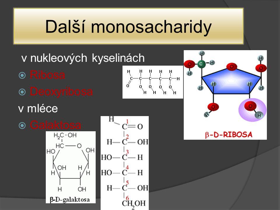 Další monosacharidy v nukleových kyselinách  Ribosa  Deoxyribosa v mléce  Galaktosa