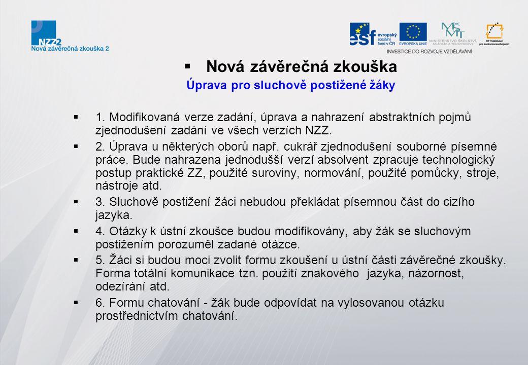  Uzpůsobení podmínek pro konání nové závěrečné zkoušky  Sluchové postižení (SP)  Skupina 1 (SP-1) - žáci se sluchovým postižením různé etiologie, kteří komunikují v mluvené češtině (tj.