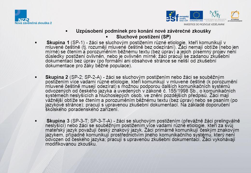  Uzpůsobení podmínek pro konání nové závěrečné zkoušky  Sluchové postižení (SP)  Skupina 1 (SP-1) - žáci se sluchovým postižením různé etiologie, k